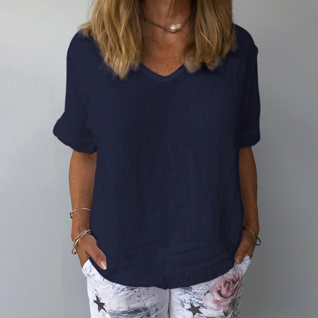 comfy Casual Cotton And Linen O-Neck Solid Short Sleeves T-Shirt 5