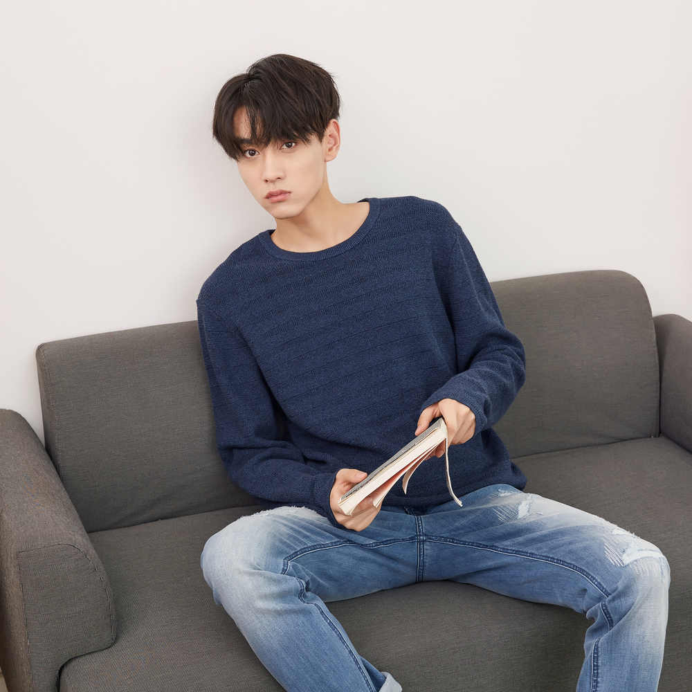 Metosbonnós suéter de malha masculino, blusão de algodão de manga longa e tricotado para homens, primavera e outono, 2020