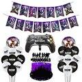 Набор для украшения дня рождения Fortnite, фиолетовая серия, день рождения, тянущийся флаг, ручка, алюминиевая пленка, шарик, фотофлаг, 25 шт./комп...