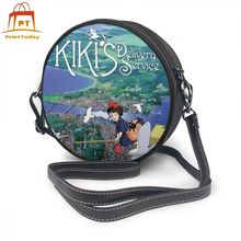 Studio Ghibli Shoulder Bag Kikis Delivery Service Leather High quality Print Women Bags Womens Round Purse