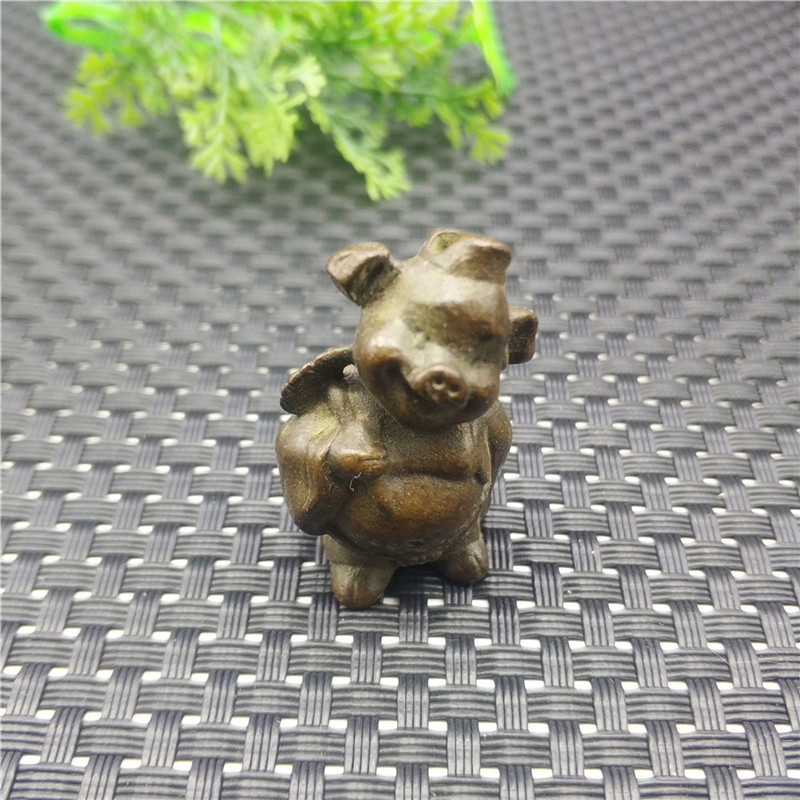 Pure Copper Zodiac Pig Ornament Tea Pet Tea Set Nine Foot Rake Tea Ceremony Accessories Creative Zhaocai Pig Bajie Decoration