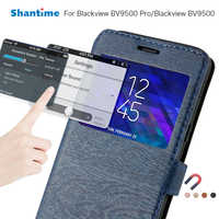 PU Leather Phone Case For Blackview BV9500 Flip Case For Blackview BV9500 Pro View Window Book Case Soft TPU Silicone Back Cover