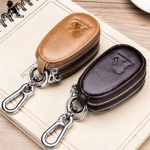 LAOSHIZI LUOSEN, натуральная кожа, мужская сумка для ключей, на молнии, кошелек для ключей, многофункциональные автомобильные держатели, пряжка, че...