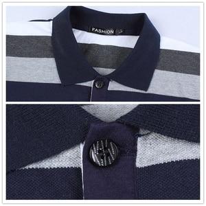 Image 4 - TFETTERS jesień męska koszulka w paski wzór nadruk liter z długim rękawem T shirt skręcić w dół kołnierz koszula T shirt duży rozmiar M   5XL