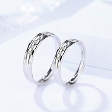 Genuine S925 sterling silver couple pair ring female fashion retro Korean zircon simple opening adjustable jewelry