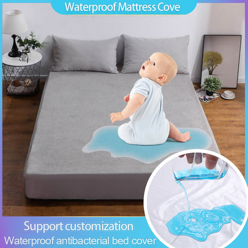 cotton terry Waterproof Mattress Protector Cover For Bed Solid gray bed sheet protector Pad Cover Anti-mite 160X200cm image