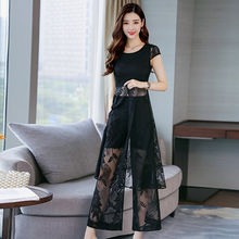 2020 Summer Women 2 Two Piece lace Sets long blouse tops+elastic Waist Pant trousers sexy hollow lace party Suits DA696(China)