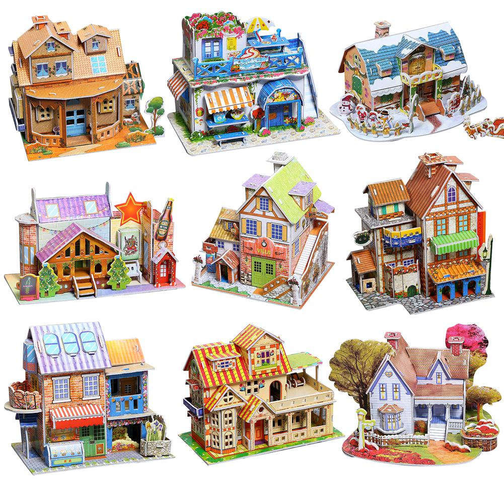 3D Paper Board Puzzle Construction Assemble Early Learning Toy Children Gift Paint Educational Toys For Kids