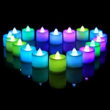 1PC bezpłomieniowe świece Amber Led świeca elektroniczna lampa wielokolorowa sztuczny kolorowy ślub dekoracja urodzinowa tanie tanio Świeczka led Filar Urodziny Świeca lampy Żel wosku Polypropylene Plastic White Red Yellow Blue Green Purple