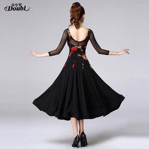 Image 2 - Doubul saia moderna mais magro na cintura vestido de dança de salão de baile padrão nacional valsa tango competição traje franja espanhol