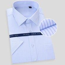 Wysokiej jakości nieżelazna męska krótka sukienka z rękawami koszula biały niebieski dorywczo mężczyzna społeczny regularny krój Plus rozmiar 6XL 7XL 8XL