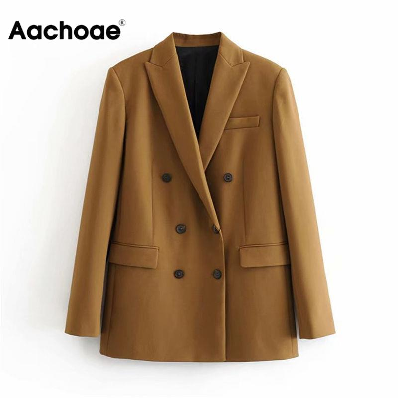 Aachoae Women Elegant Long Sleeve Double Breasted Blazer Jacket Casual Solid Female Chic Lady Office Suit Blazer Outwear Coat