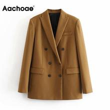 Aachoae Women Elegant Long Sleeve Double Breasted Blazer Jacket Casual Solid Fem