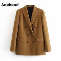 Women Elegant Long Sleeve Double Breasted Blazer Jacket Casual Solid Female Chic Lady Office Suit Blazer Outwear Coat