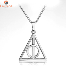 Silver Plated Geometric Triangle Shape Necklace Collares Hot Sell Metal Deathly Hallows Pendant for Women and Men