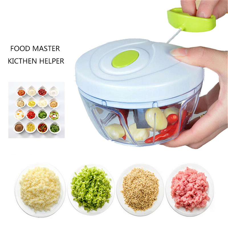 500ML Powerful Manual Meat Grinder Hand-power Food Chopper Mincer Mixer Blender To Chop Meat Fruit Vegetable Nuts Shredders