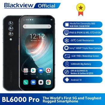 Blackview BL6000 Pro 5G Phone IP68 Waterproof 48MP Triple Camera 8GB RAM 256GB ROM 6.36 Inch FHD+ Global Version 5G Mobile Phone