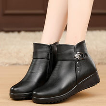 Women Ladies Buckle Strap Leather Ankle Boot Fashion Wedge Cotton Slip-On Thickning Warm Snowshoe Short Warmer Hiking Snow Boots(China)