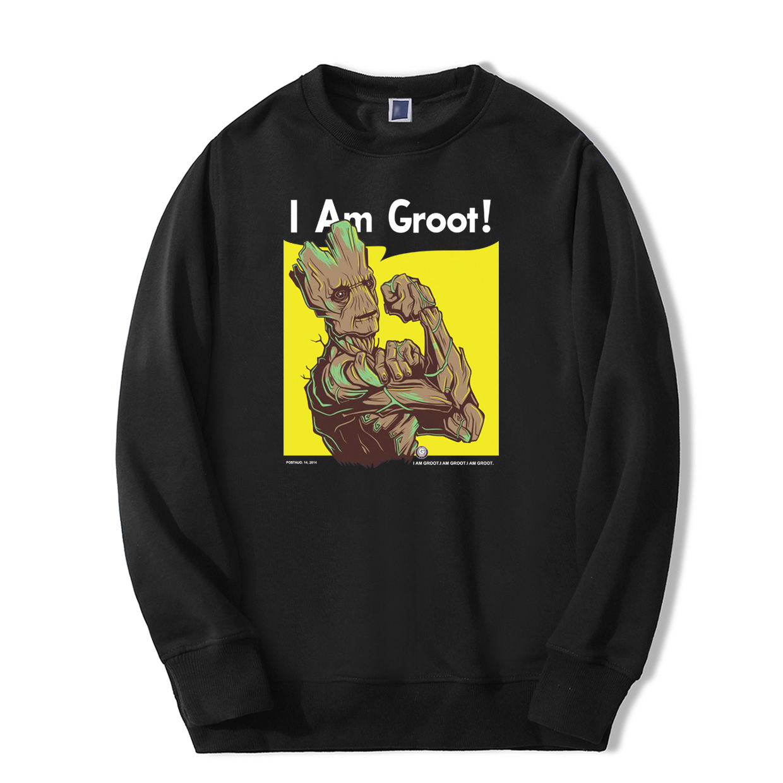 I Am Groot Super Hero Men Sweatshirt 2019 Autumn Winter Men's Casual Hoodies Cool Casual Warm Fleece Hip Hop Fashion Streetwear