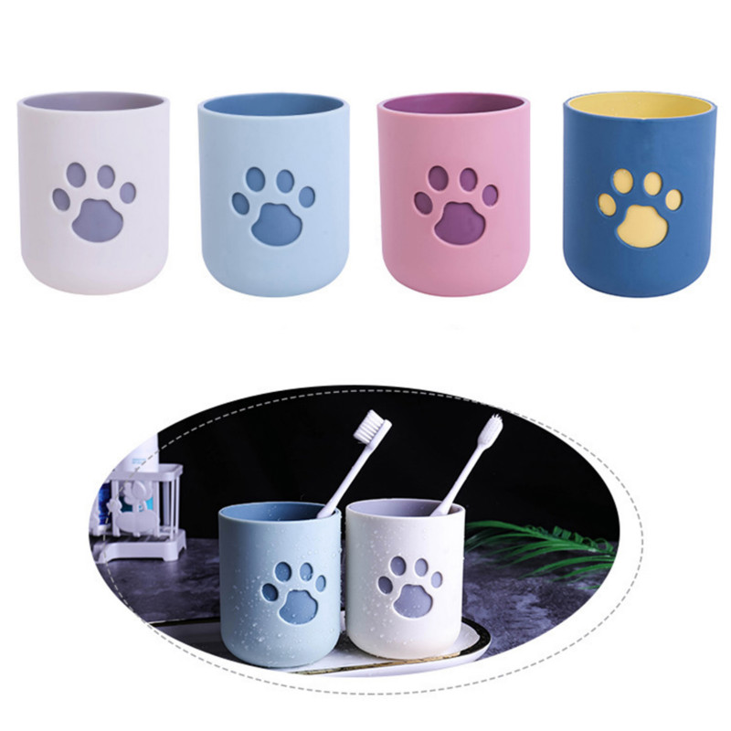 NEWEST Toothbrush Cup Cat Claw Pattern Wash Tooth Mug Durable Big Mouth Couples Cups Friendly Bathroom Supplies Washing Cup image