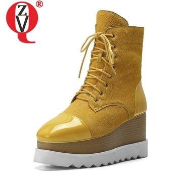 ZVQ جلد امرأة الجوارب القوطية بارد الأصفر السبيب أسود 8 سنتيمتر عالية الكعب منصة أحذية نسائية 2019 الخريف أزياء العلامة التجارية