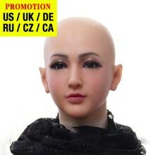 Dokier realistyczne silikonowe na całą głowę twarzy rekwizyty kobiet Masquerade Halloween Cosplay Drag Queen Crossdresser pokrywa twarzy blizny