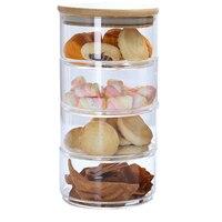 4 camadas de vidro empilhável cozinha armazenamento jar cozinha doces cookie recipientes de armazenamento de vidro pode com tampa para casa 2019 nova chegada|Garrafas  frascos e caixas| |  -