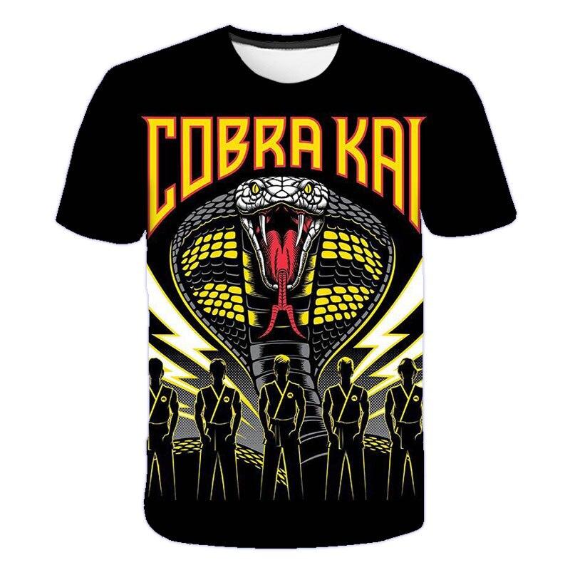 Cobra kai 3d adolescentes camiseta meninos 3d moda cobra manga curta crianças estilo casual camiseta 6 a 19 y streetwear presente para meninos