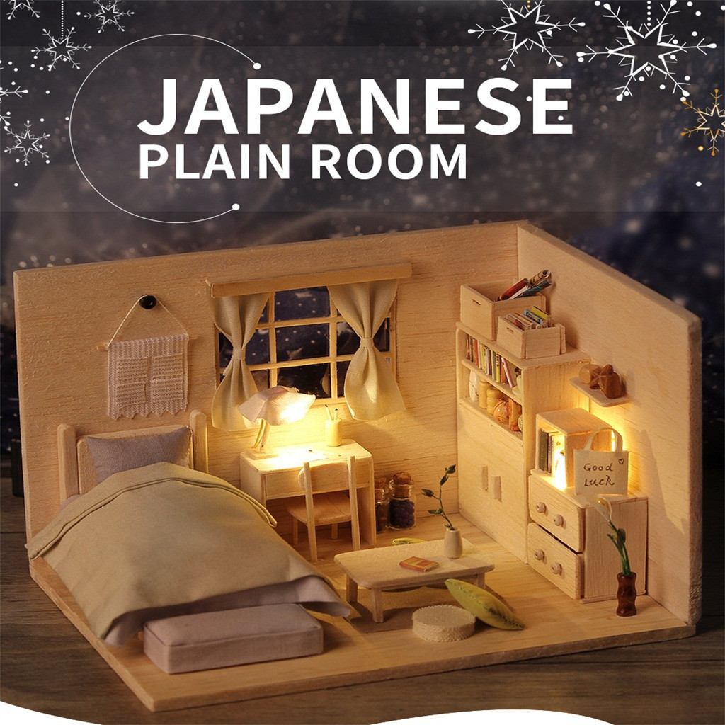 Japanese Plain Room DIY Miniature Dollhouse Kit Time Apartment DIY Dollhouse Kit Model Building Kits Doll Furniture DIY Bedroom