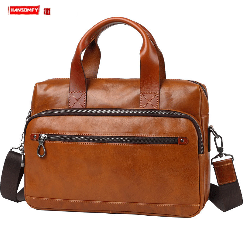 Business Handbag Men's Leather Briefcase Men 14 Inch Laptop Bag Casual Shoulder Slant Computer Bag Large Capacity Leather Bags