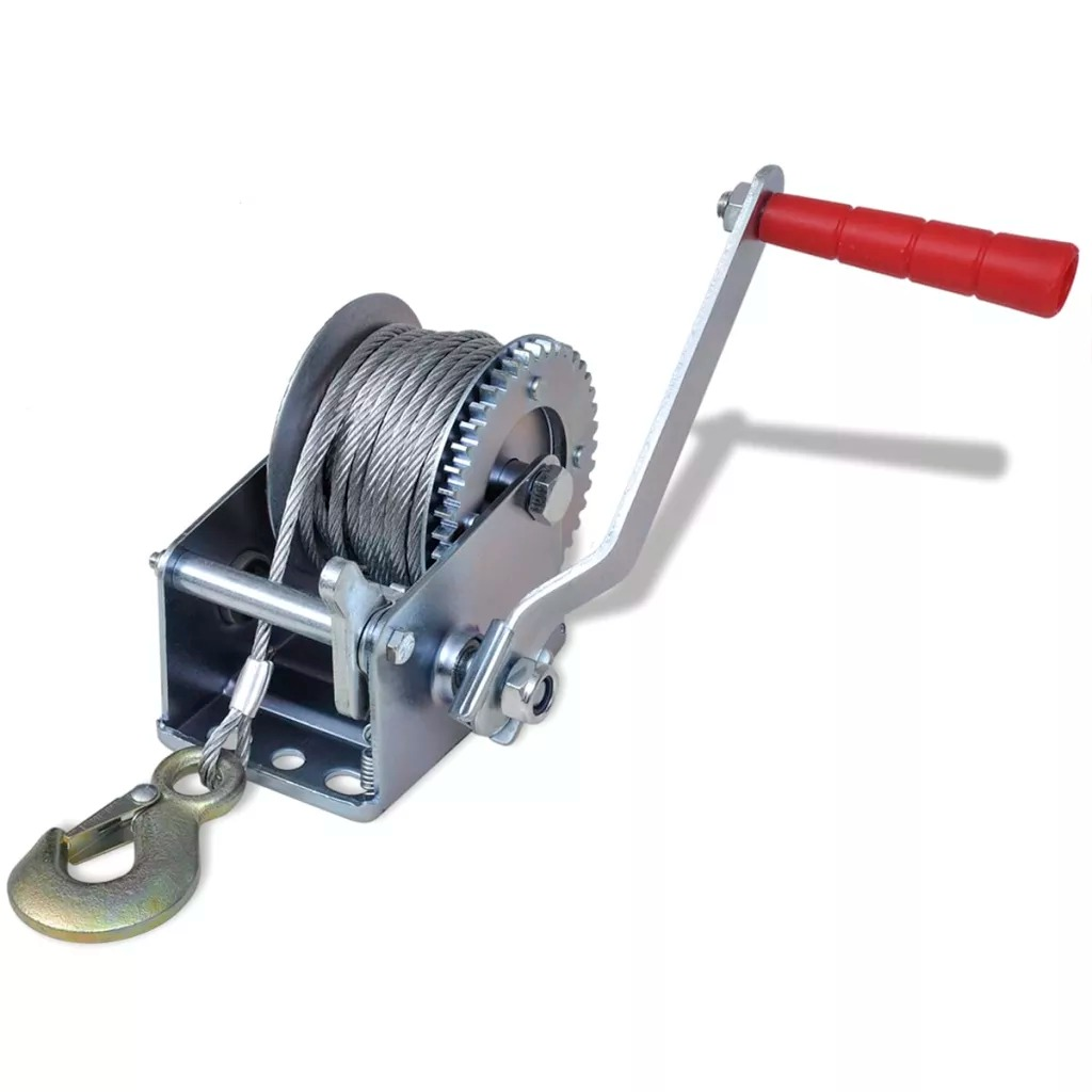 VidaXL Durable High-Quality Hand Winch 363 Kg / 800 Lbs Ideal Tool For Pulling 28 X 25 X 12 Cm Power Tool Accessories