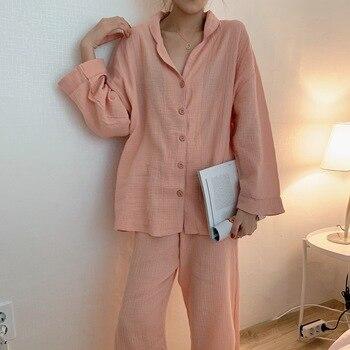 Sleepwear Women Spring / Autumn Japanese Style Simple Comfortable Pure Color Cotton Pajamas Set  Ladies Long Sleeve Trousers - discount item  53% OFF Women's Sleep & Lounge