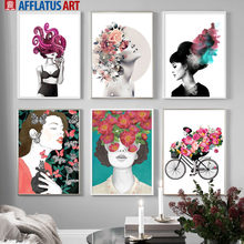 Abstract Girl Rose Poney Flower Figure Wall Art Canvas Painting Nordic Posters And Prints Wall Pictures For Living Room Decor(China)