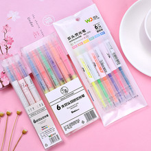 3/6 Pcs/set Korean Dual Head Mildcolor Highlighters Art Markers Fluorescent Color Pen Fine Liner School Office Stationery