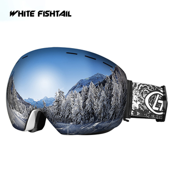 WHITE FISHTAIL Ski Goggles Double Layers UV Anti-Fog Mask Glasses Can Placed Myopia Outdoors Adult