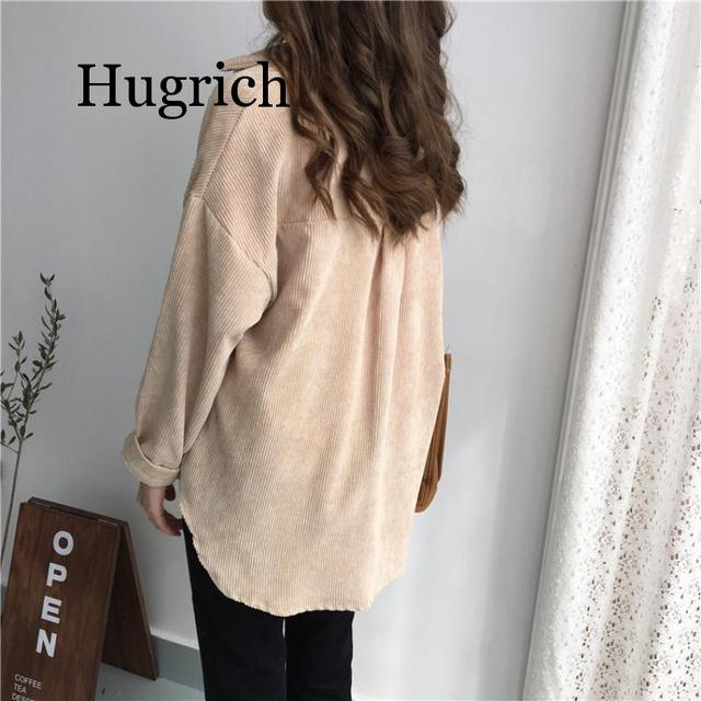 2020 Spring and autumn Loose Shirts Korean Solid Blouse Long Sleeve Corduroy blouses Women Tops outwear coats 4