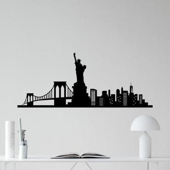 195x80CM New York Skyline Wall Sticker Decal Statue Liberty Vinyl Stickers Home Decor Living Room America Wallpaper for Wall C37 1