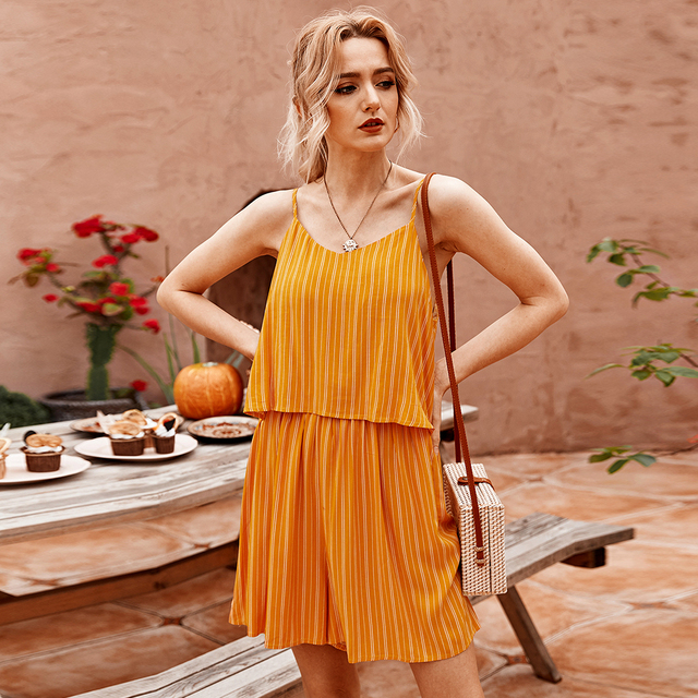 Women Jumpsuits  2020 Summer Sexy V-neck Striped Sleeveless Cotton Jumpsuits Bandage Short Bodysuit rompers Casual Red Overalls 1