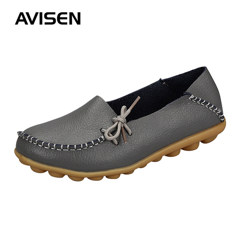 Spring Women Shoes Woman Flat Shoes Fashion Breathable Bowknot Loafers Women Genuine Leather Women Casual Shoes Zapatos Mujer