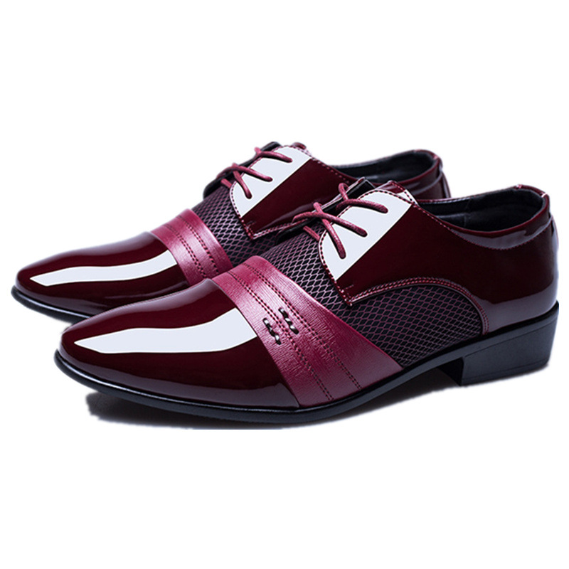 GOXPACER Fashion Shoes Men Patent Leather Lacing British Style Patchwork Business Shoes Flat Heel Single Shoes Free Shipping