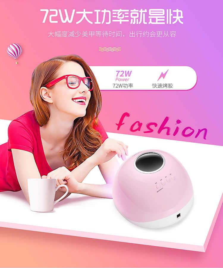 Lampe UV pour manucure, appareil sèche-vernis à ongles, haute puissance 120/72W, capteur automatique, soleil lampe LED pour ongles