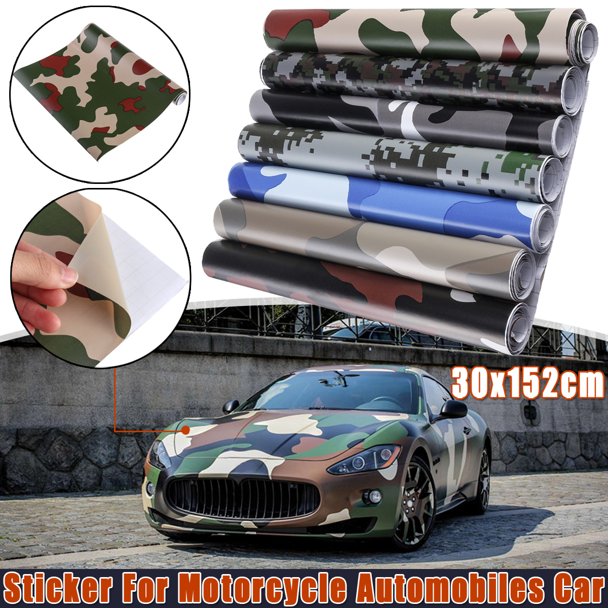 DIY Snow <font><b>Camouflage</b></font> Vinyl Film Car Wraper Wrapping Skin Film Car <font><b>Stickers</b></font> Decals For Car <font><b>Bike</b></font> Computer Laptop Scooter Motorcycle image