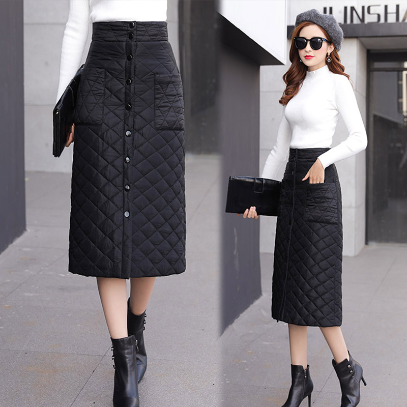 Women Winter Down Cotton Thick Skirt A-Line Plus Size Long Pencil Skirts One-Piece High Waist Femme Fashion Warm Jupe Wild
