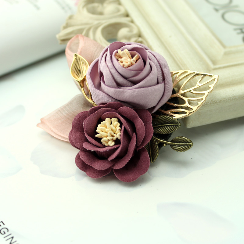 i-Remiel Korean Cloth Art Fabric Flower Brooch Shirt Collar Vintage Pins and Brooches for Women Dress Shirt Collar Accessories 3