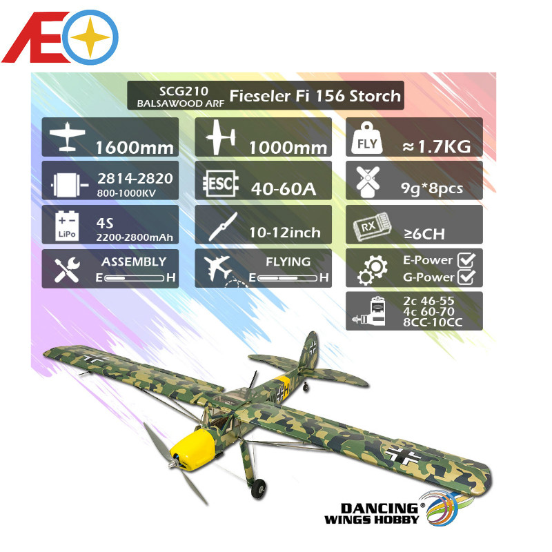 2020 New SCG21 Fieseler Fi 156 Storch 1600mm (63) Balsa Storch Balsa ARF PNP RC Airplane Film Covering Finished image