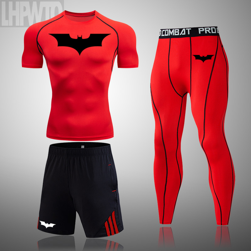 running - Men's Compression t-shirt Batman Sportswear Gym Tights Training Clothes Workout Jogging Set Running Tracksuit Dry Fit Plus Size