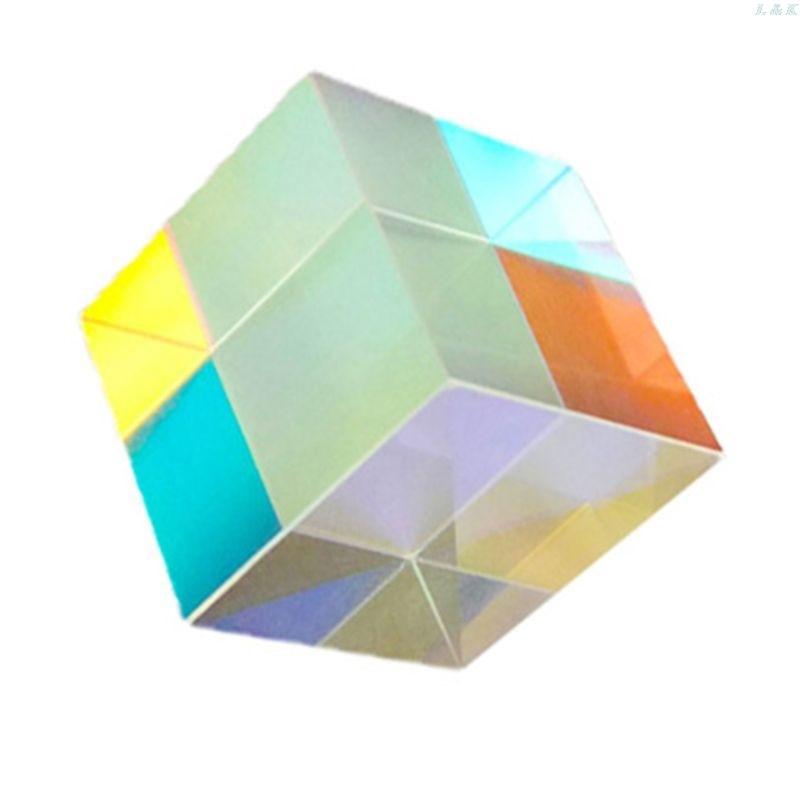 Colorido combinador divisor Cruz dicroica cubo prisma RGB Prisma óptico prisma Triangular para enseñanza de Física de espectro de luz 20m H & D 30mm ventana de vidrio colgante atrapasoles ornamento máquina de arcoíris bola de cristal prismas colgante hogar jardín decoración coche encanto regalo