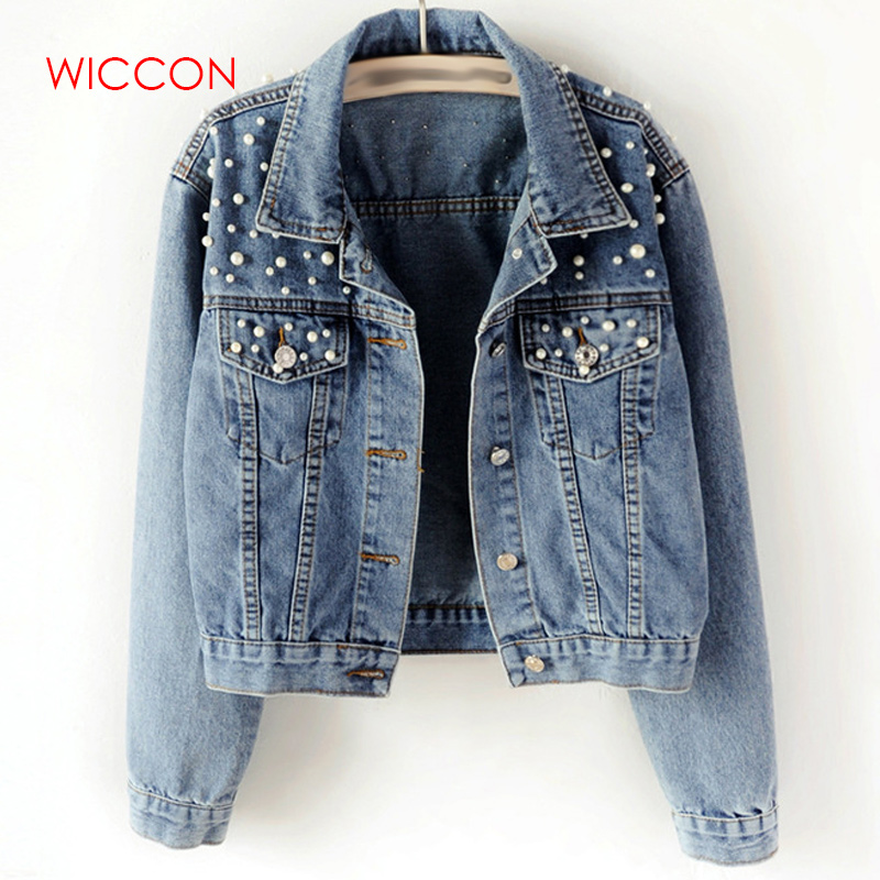 2020 Spring Pearl Beading Crop Denim Jackets Women 5Xl Casual Jeans Bomber Jacket Long Sleeve Denim Coat Korean Plus Size