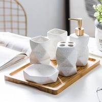 ceramic washable bathroom set of 4 Nordic bathroom toothbrush holder 5 delicate set with bamboo drawer bathroom decoration set