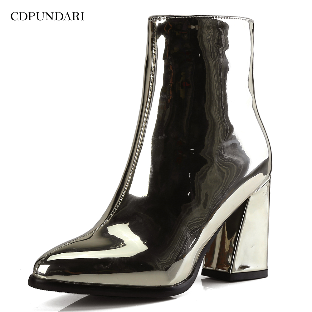 Image 3 - Серебристые и черные пикантные ботильоны для женщин; ботинки на высоком каблуке; женская зимняя обувь; женская обувь золотистого цвета; bottines pour les femmes escarpins Sexy hauts talons-in Полусапожки from Обувь